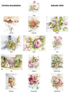 Christine Brandstaetter Aquarelle: Kalender 2016