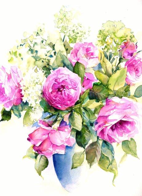 In blaue Vase gesteckt